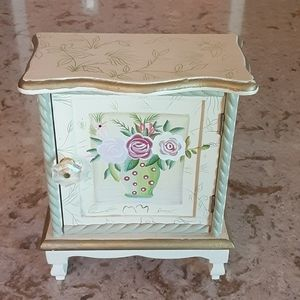 Other - Miniature armoire double shelf chest rose painted